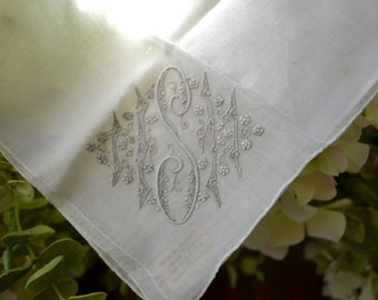 Vintage Linen and Cotton Monogrammed 'S' Handkerchief, Embroidered Detail, Off White  3433