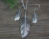 Sterling Silver Set Feather necklace. Feather necklace, Feather Earrings. Jewelry Sets.Choose chain, Silver feather earrings pendant Feather