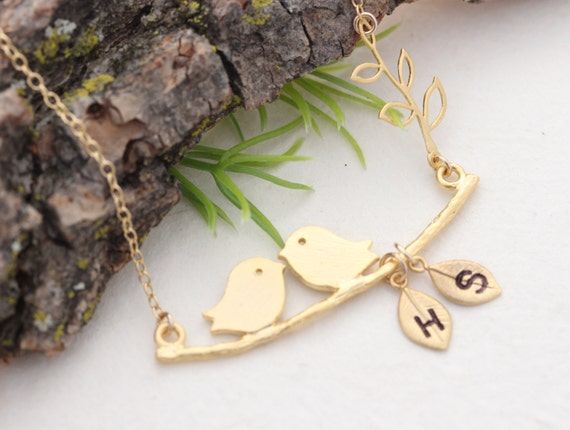Love bird Necklace, Personalized charms Necklace- Couples Gold Necklace - Bridal Shower, Anniversary.