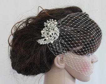 Wedding birdcage veil Bridal Fascinator Wedding hair comb Bridal birdcage veil Wedding Fascinator Bridal hair comb Wedding veil Bridal comb
