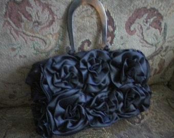 Black Satin Bag with Tortoise Shell Handles