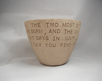 Mark Twain - Bowl / Clay Bowl / Pottery Bowl / Ceramic Bowl