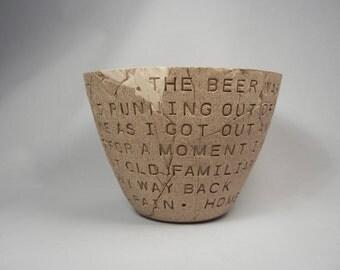 Dan Fogelberg - Same Old Lang Syne - Clay Bowl / Pottery Bowl / Ceramic Bowl