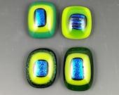 Green Lime Blue Dichroic Glass Cabochon