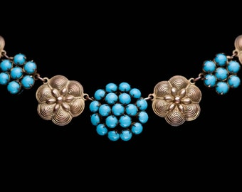 Vintage Art Deco Fishel Nessler F N Co. Turquoise Gold Gilt Choker Necklace 1920s