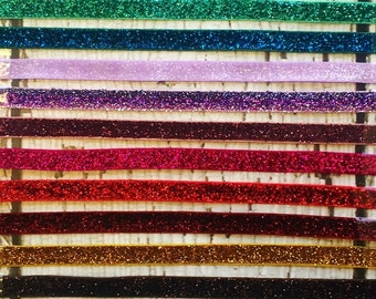 Gorgeous Glitter/Frosted Elastic - 3/8 inch wide - 2 yards - You Choose the Colors! Tons of colors to choose from!