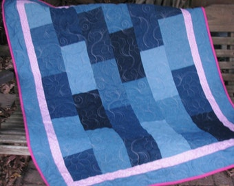 Denim Quilt - Pink Pennants- Baby Quilt, Youth Quilt