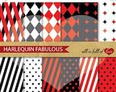 80% OFF Harlequin Digital Scrapbooking Pattern RED Black Graphic Harley Quinn Printable Background Carnival digital paper pack Mardi Gras