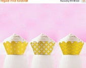 80% OFF Printable Cupcake Wrappers Yellow Japanese Patterns Template DIY Cupcake Holders yellow cupcake wrap INSTANT Download