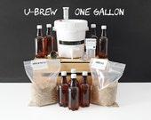 30% OFF SALE || U-Brew - 1 Gallon Beer Making Kit & 2 Grain Recipe Kits - Brew Bag