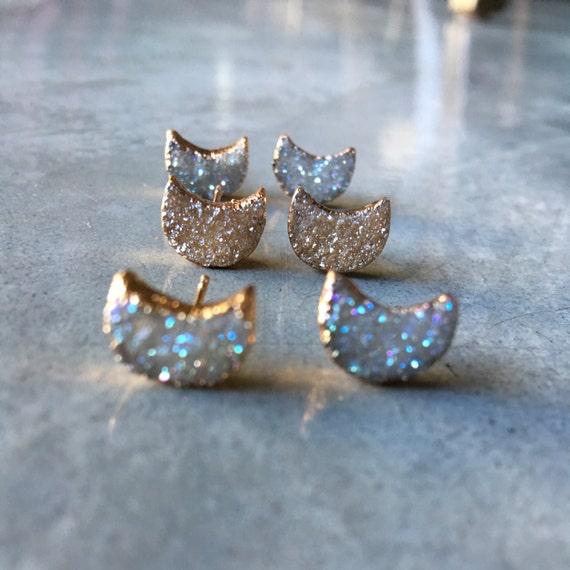 Moon Druzy Earrings