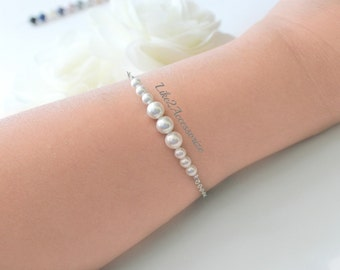 Bridal Bracelet, Swarovski Pearl, Bridesmaid Bracelet, White Ivory Bracelet, Wedding Jewelry, Bridesmaid Maid of Honor Gift, Chain Bracelet