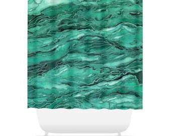 MARBLE IDEA - EMERALD, Green Nature Abstract Shower Curtain Washable Colorful Jade Mint Ocean Waves Coastal Beach Home Decor Modern Bathroom