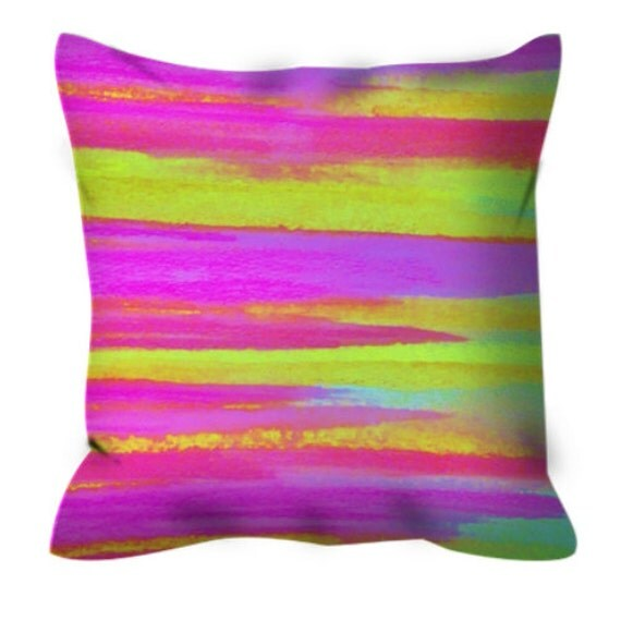 Neon Blue Throw Pillows : DISCO FEVER Neon Pink Green Decorative Suede Stripes Throw