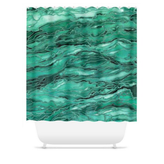 MARBLE IDEA - EMERALD, Green Nature Abstract Shower Curtain