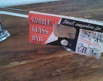 Vintage Kimball glass towel bar , new old stock towel bar , art deco towel bar , antique glass towel bar