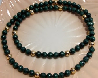 Malachite and Gold Tone Beaded Necklace Twenty-Eight Inches Long