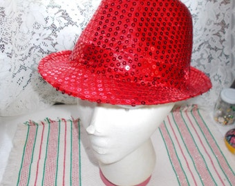 Very Nice Red Sequined Fedora-EXCELLENT Condition