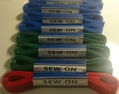 """SET Sew-on Hook & Loop fastener (4 blue,3 green,1 red), 100% nylon, 3/4""""x 24""""/ea"""