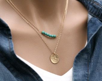 Double long Layered birthstone initial necklace,Monogram jewelry,initial necklace,  Layering Necklace, Custom Gemstone Bar Necklace