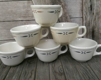 Set of 6 Walker China Vitrified Coffee Tea Cups Bedford Ohio