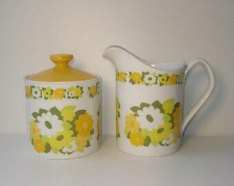 Vintage Cream and Sugar - Johnson Bros Snowhite - Yellow Daisy Flowers - Retro Servingware 1960s
