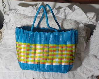 Plastic Weaved Bag Blue and multi Colored /Not Included In Coupon Sale