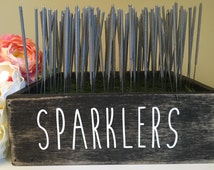 Wedding Sparklers Box, Barn Wood Sparklers Moss Box, Woodland Forest Outdoor Wedding, Rustic Sparklers Tray, Party Favor