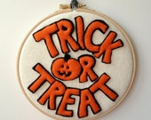 SALE Wool Felt Trick or Treat Jack O Lantern Pumpkin Embroidery Hoop Decoration orange white black
