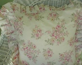 Vintage Cottage Chic Pillow Sham, Floral Print, Rose Bouquets, Pinks with Green, Custom Made, Ruffled Edge