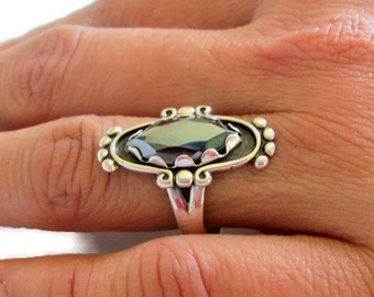Vintage Bell Trading Post Sterling Silver Ring, Black Hematite Ring, Size 7.5