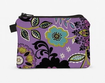 Women's Zip Wallet, Mini Fabric Coin Bag, Floral Zipper Pouch, Padded Change Purse - purple, lime, turquoise flowers