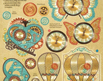 "3D Paper Tole ~ Die Cuts ~ ""STEAMPUNK"" ~  Hot of the Press ~ Stickers // Gears //"