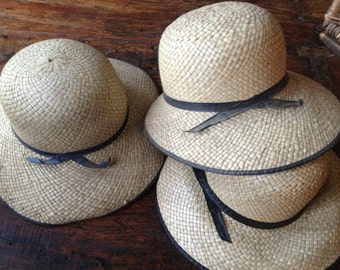 French Straw Hat Hand Woven Garden Summer Sun Hat Original Tag