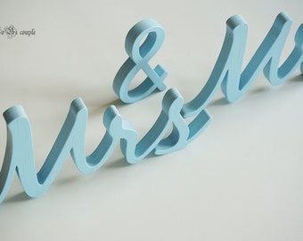 Blue Wedding Sign Mr & Mrs, Wooden letters table decor, Wedding gift