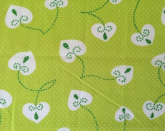 Cute Vintage 60s Lime Green Swiss Dot Fabric Hearts and Polka Dots Applied Dots Doll Clothes Cute Bright Fun