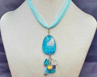 Blue Dichroic Glass Pendant and Wire Wrapped with Beads and Organza Ribbon Cord Necklace