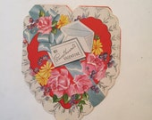 Unused Valentine Card / Vintage A-Meri-Card SweetHeart Valentine Die Cut Embossed  #0-5620-1