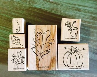 Fall stamp Set / Fall Whimsey Rubber Stamp Set Mounted by Stampin'Up Used For Tags, Cards, Journals, Altered ARt, MIxed Media, Scrapbooking