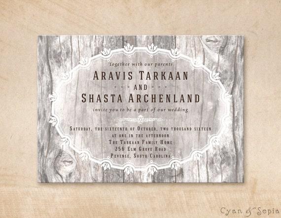Printable Wedding Invitation - 5x7 - Wood and Flourishes - Vintage Rustic Woodland Elegant Personalized DIY - Brown, Tan, Grey, Gray, White