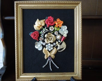 Jewelry Art, Flower Display, Vintage Jewelry Pieces,  Porcelain Roses, Rhinestones, Stunning  Hand Made