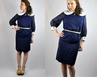SALE 60s Pencil Dress Blue Dress Mini Dress Peter Pan Collar Large Big Collar by E.T. California Fitted Mod Secretary Dress Day Dress S - M