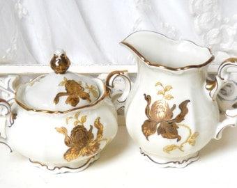 vintage cream and sugar set vintage cream set porcelain creamer vintage floral sugar bowl shabby chic gold flowers