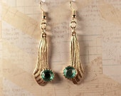 Gold Tone Dangle Pierced Earrings with Green Stone