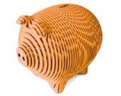 Mandarin Orange Laser Cut Corrugated Cardboard Piggy Bank Magnetic Opening
