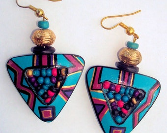 FuNkY Gawdy 80s Costume Tribal Color Block Turquise Gold Wood Triangle Dangle Pierced Earrings