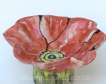Red Poppy Porcelain Bowl,Hand Painted, Handmade, Ready to Ship Made in USA