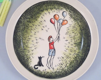 "7"" Ceramic Cake Plate- Hand Painted Ceramic Plate, Special Occasion Plate to Celebrate Boy with Balloons and Cat,"
