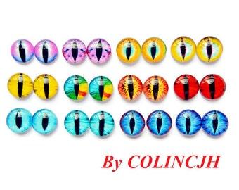 24pcs  12mm Colored  Glass Eyes Flat Back  Animal Craft Eyes Handmade Glass Cabochon