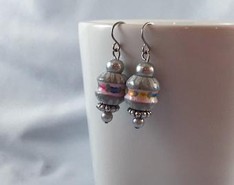 Grey earrings, grey silver earrings, handpainted bead, apple core shape, wooden bead earrings, stocking stuffer, jewelry under 25, rainbow